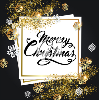 Vector golden shining Christmas background with snowflakes and paper frame. Merry Christmas lettering.