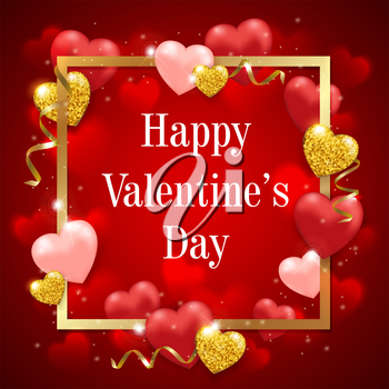Decorative festive background for Valentine's day with red heart balloons and golden frame. Vector illustration.