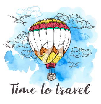Vintage travel background with air balloon, clouds and blue watercolor texture. Time to travel lettering. Hand drawn vector illustration.