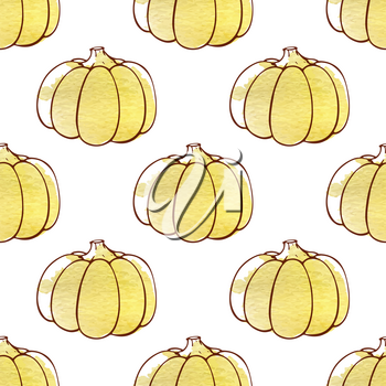 Decorative autumn seamless pattern with pumpkins on a white background