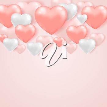 Saint Valentine's day greeting card with pink and white hearts on a pink gentle background.  Vector illustration.