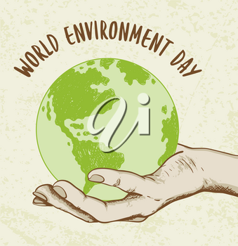 Background with planet Earth in human hand. Ecology concept for world environment day.