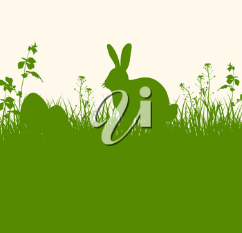 Easter green background with silhouettes of rabbit, grass and eggs. Easter egg hunt concept. Vector illustration