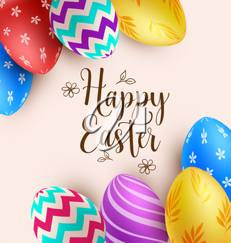 Decorative background with multicolored Easter eggs. Vector illustration. Happy Easter lettering