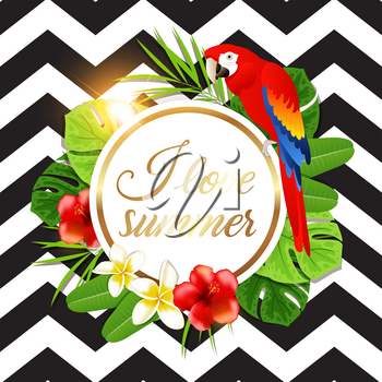 Summer round banner with tropical flowers, green palm leaves and red parrot on a black striped background. Vector illustration.