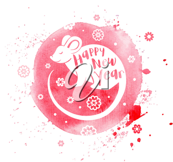 Cute rat symbol of Chinese zodiac for 2020 new year. Silhouette of rat and lettering on a pink watercolor background. Vector illustration