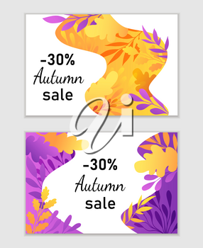Abstract autumn backgrounds for seasonal sale. Orange and violet fall labels with decorative branches and oak leaves. Vector illustration