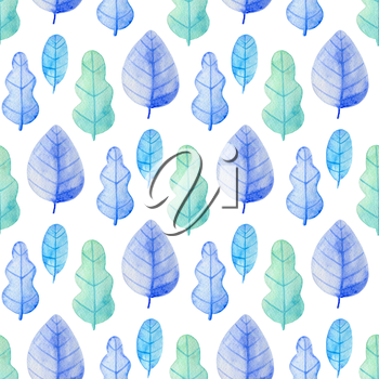 Watercolor floral seamless pattern with blue and green oak leaves. Hand drawn winter nature background