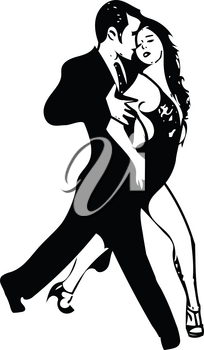 Abstract drawing of Latino Dancing couple vector illustration