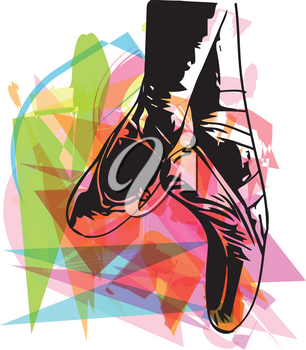 Abstract ballet pointe shoes vector illustration