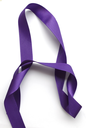 Purple ribbon over white background, design element. Clipping Path included