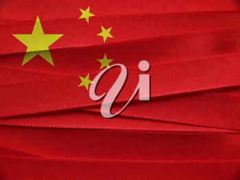 China flag or banner made with red and yellow ribbons
