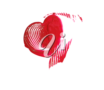 Hand-drawn painted red heart white background