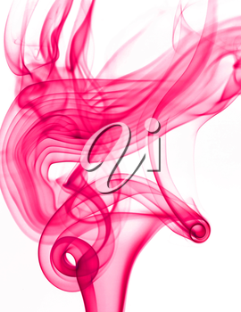 Abstract detail image of pink smoke isolated on the white background.