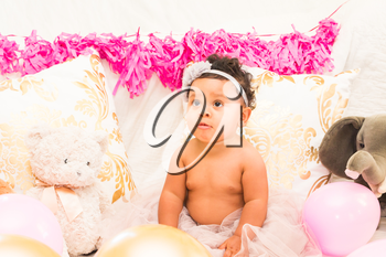 Young Baby Girl Celebrating Her First Birthday