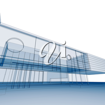 Blueprint on white. Building design and 3d rendering model my own