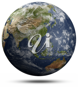 Earth globe - Asia and Oceania. Elements of this image furnished by NASA 3d rendering