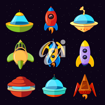 Cartoon vector fantastic ufo, spaceships and rockets vector. Set of spaceship and rocket, illustration of ufo spaceship in space