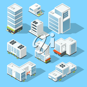 Isometric industrial buildings, offices and manufactured houses. 3d map vector illustration set. Office building template, exterior building of set icons