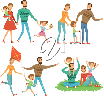 Happy family walking in park. Funny characters set in cartoon style. Happy people family in park, mother and father. Vector illustration