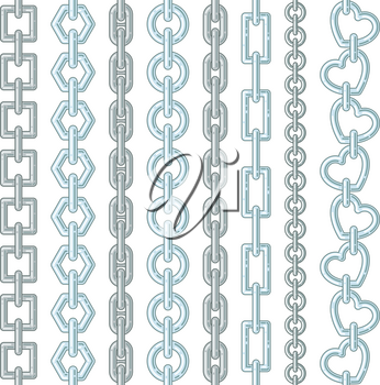 Metal and silver chains isolate on white. Vector chain steel, strong metallic shiny illustration