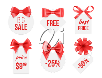 Tags with ribbons. Promo badges with red and golden satin silk bows advertizing template for big celebration sales vector pictures. Illustration of ribbon tag badge, silk bow form