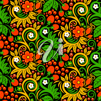 Seamless pattern of khokhloma style. Pictures of traditional russian culture. Russian khokhloma ornament pattern, vector illustration