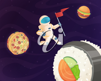 Astronaut on food planet. Fantasy space world with candy fast food burger pizza and various sweets stars fantastic sky vector background. Cosmonaut in cosmic space dream with burger illustration