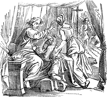 Vintage antique illustration and line drawing or engraving of biblical story about Issac giving blessing to Jacob instead of Esau.From Biblische Geschichte des alten und neuen Testaments, Germany 1859.Genesis 25:19-34.