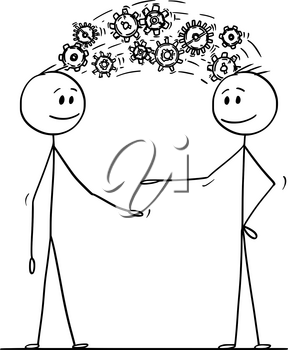 Cartoon stick drawing conceptual illustration of two men or businessmen sharing knowledge displayed as cog wheels coming from head to head. Business concept of inspiration and creativity.
