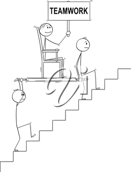 Cartoon stick drawing conceptual illustration of two men, businessmen or slaves carrying boss, manager or lord holding teamwork sign upstairs in litter or sedan chair. Business concept of subordination, cooperation and leadership.