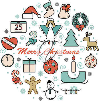 Set of flat colorful Christmas icons and decorations, new year isolated objects in round shape
