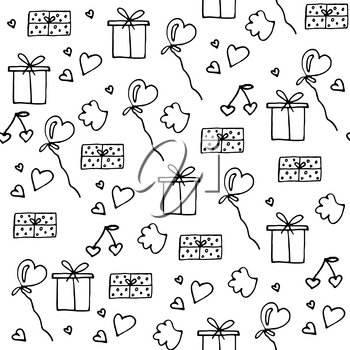 Love symbols Seamless pattern. Hand drawn doodles Vector illustration. Can be used for scrapbooking, fashion, cards for wedding, Valentine s day and other romantic occasion.