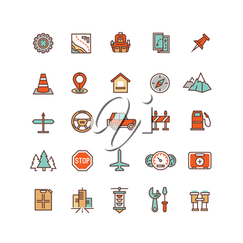 Road traffic flat vector icons. Traffic element of set, sign to travel traffic illustration