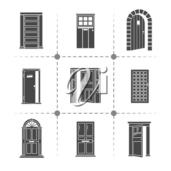 Open and closed door silhouettes vector icons set isolated on white illustration