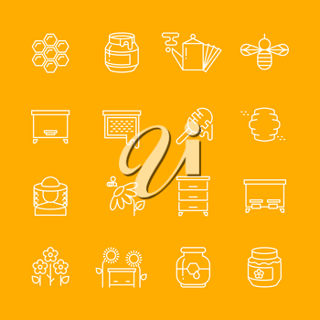 Honey apiary vector thin line icons set. Honeycomb and bee, beehive illustration