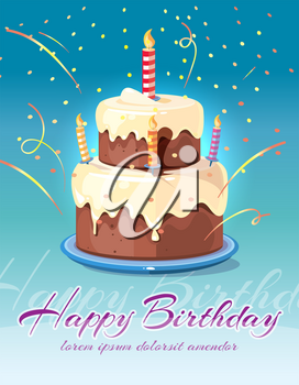 Happy birthday background with tasty cake and candles vector illustration. Card for invitation and congratulation