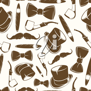 Getlemen seamlss pattern - vintage background with cylinder, rope, tabacco and bow tie. Vector illustration