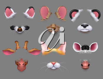 Cute animal ears and nose video effect filters. Funny animals faces masks for mobile phone vector set. Animal character avatar for selfie application illustration