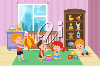 Children playing with toys in playroom of kindergarten vector illustration. Room with boy and girl, kids room in kindergarten