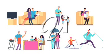 Family in daily activities. Mother, father and kids spending time together at home and outdoor. Vector cartoon characters. Illustration of family together daily, child daughter and son