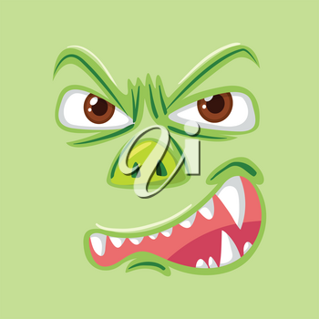 Angry green monster face illustration