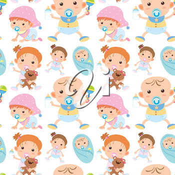 Seamless background with toddler boys and girls illustration