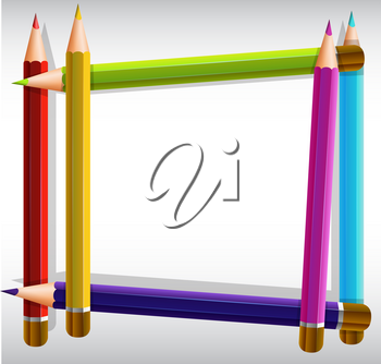 Border template with color pencils illustration