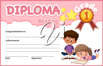 Reading diploma certificate template illustration