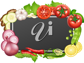 Border template with many vegetables illustration