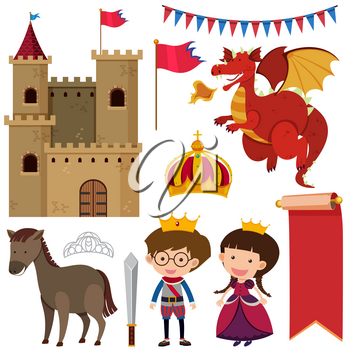 Castle towers and different fairytale characters illustration