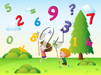 Two kids catching numbers in the sky illustration