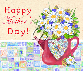 Cute teapot with abstract multicolored heart on a vintage background. Time for tea or coffee. Bouquet of daisies and cornflowers. Happy Mother`s day. Congratulations card.