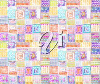 Abstract painting squares backgrounds patchwork. Colorful hand drawn ethnic seamless pattern. Interior decor. Patterned background.